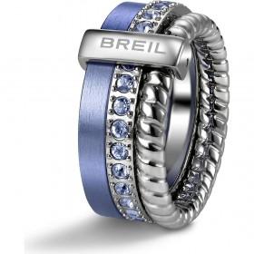 Anello in acciaio con dettagli in alluminio e cristalli lilla BREIL TJ1716