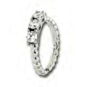 Anello in argento con intrecci e pietre zirconi Bianchi UNOAERRE 405641