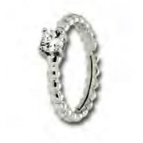 Anello in argento con intrecci e pietra zircone Bianca UNOAERRE 405639