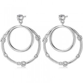 Brass hoop earrings rhodium crystals BROSWAY BUN22