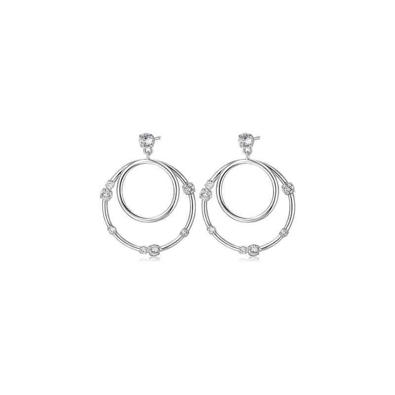 Brass hoop earrings rhodium crystals BROSWAY BUN22