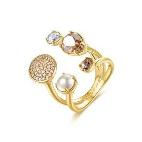 Woman ring in brass and gold electroplating with gold swarovski and cubic zirconia BROSWAY BFF65C