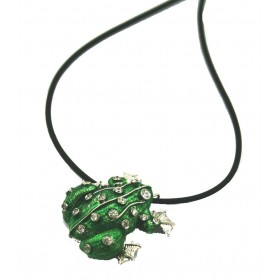 Pendant in silver with cubic zirconia stones big toad and necklace in rubber 50 cm ARGENTUM