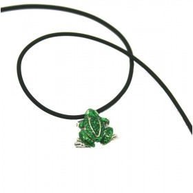 silver pendant small toad with zirconia stones and necklace in rubber 50 cm ARGENTUM