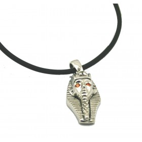 Sphinx silver pendant with cubic zirconia stones and necklace in rubber 50 cm ARGENTUM