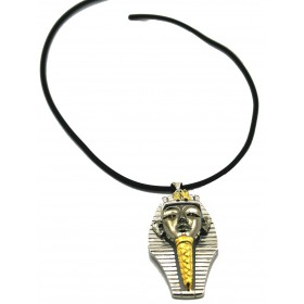 Silver pendant with zircons Two-tone Sphinx stones and necklace in rubber 50 cm ARGENTUM