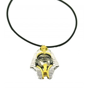 Silver pendant Sphinx large two-tone with zirconia stones and necklace in rubber 50 cm ARGENTUM