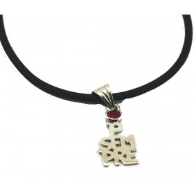 female silver pendant FOREVER with cubic zirconia stones and necklace in rubber 50 cm ARGENTUM
