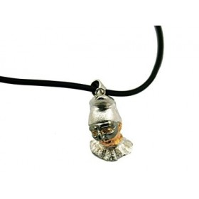 Silver pendant woman PULCINELLA with zirconia stones and necklace in rubber 50 cm ARGENTUM