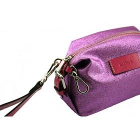 Pochette borsa beauty donna in tessuto glitterato inserti in pelle ICONE 12x19x9 cm MADE IN ITALY