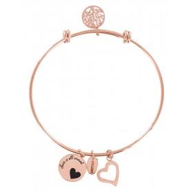 Bracciale bangle donna Co88 Celestial in acciaio rosa 3 charms CUORE 8CB-11001