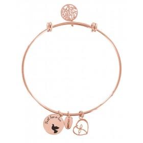 Bracciale bangle donna Co88 Celestial in acciaio rosa 3 charms COLOMBA DELLA PACE 8CB-11002