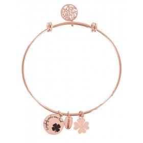Bracciale bangle donna Co88 Celestial in acciaio rosa 3 charms QUADRIFOGLIO 8CB-11004