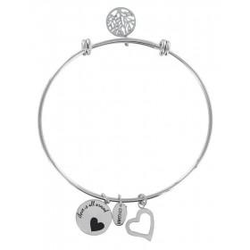 Bracciale bangle donna Co88 Celestial in acciaio argento 3 charms CUORE 8CB-11006