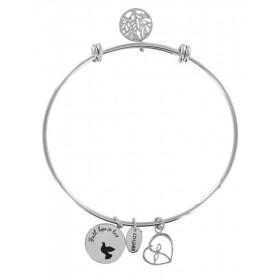 Bracciale bangle donna Co88 Celestial in acciaio argento 3 charms COLOMBA DELLA PAC 8CB-11007