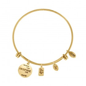 Bangle women Co88 Inspirational yellow gold 3 steel charm LIFE 8CB ZEN-13007
