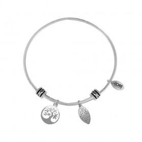 Bangle women Co88 Celestial steel silver charm 2 TREE LEAVES 8CB-25004