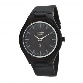 Orologio in legno solo tempo unisex cinturino cuoio nero GREENTIME ZW017A