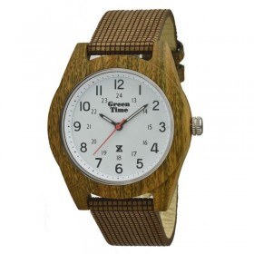 Unisex watch only sandalwood time and white dial GREENTIME ZW042B