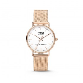 Wrist watch woman in gold rose gold and strap in milanaise CO88 8CW-10001
