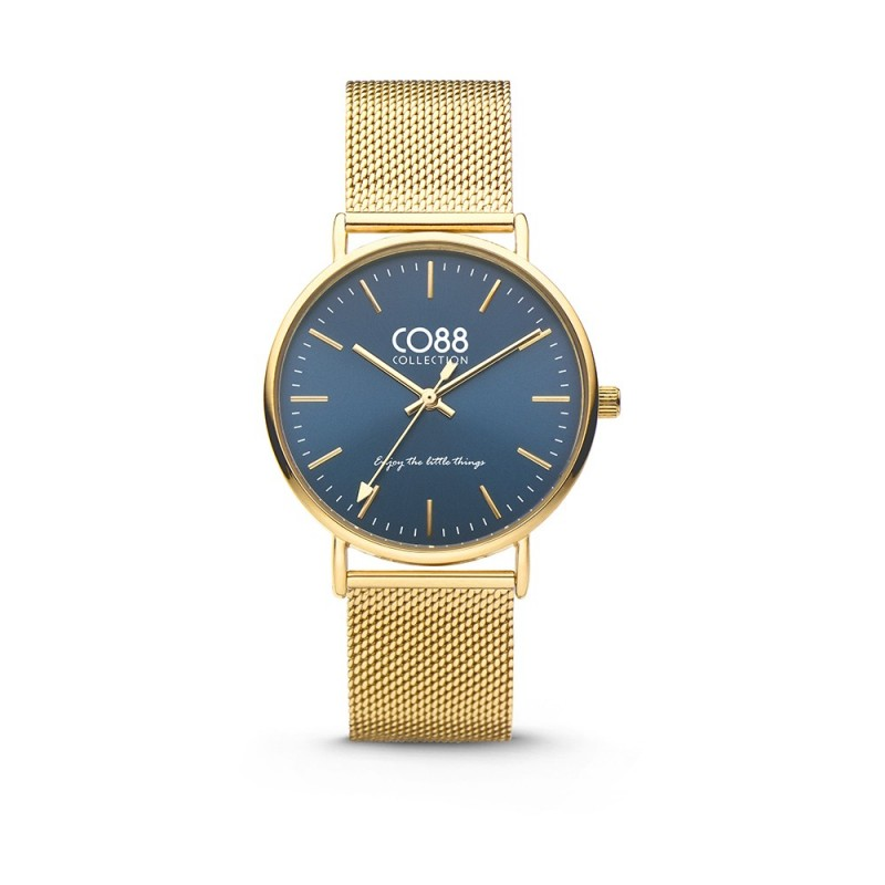 Gold watch wristwatch with blue CO88 8CW-10012 dial