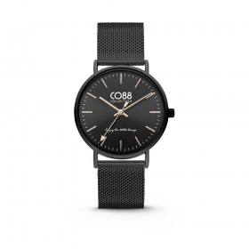 Black ip steel wristwatch with milanoise strap CO88 8CW-10013