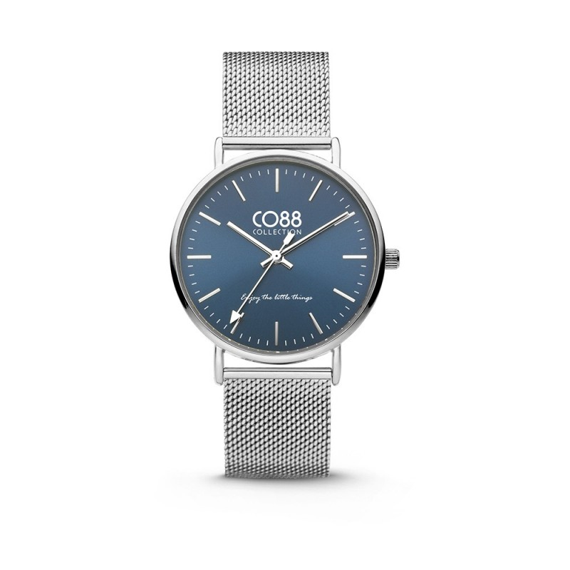 Silver wristwatch with blue dial and milanaise strap CO88 8CW-10015