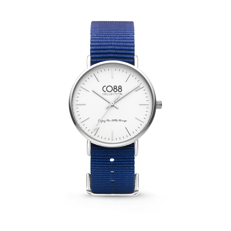 White dial wrist watch and CO88 8CW-10016 fabric strap