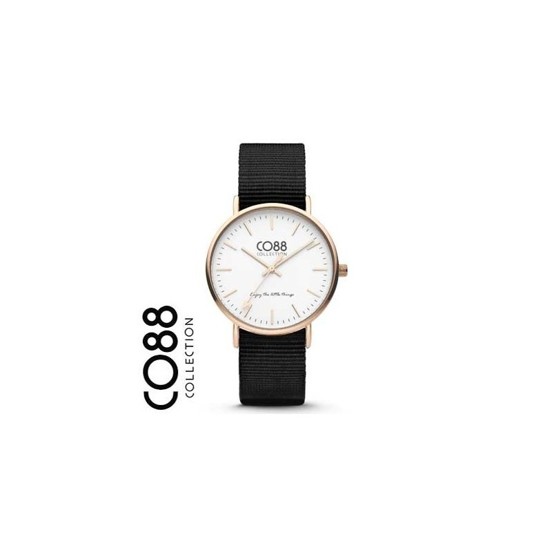 White dial dial wristwatch and black fabric strap CO88 8CW-10022