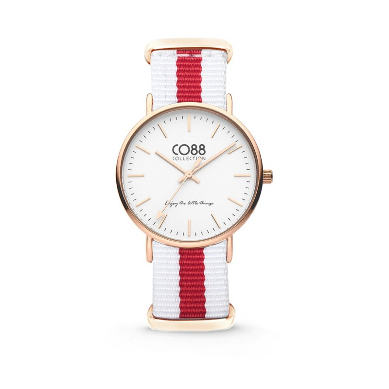 Wristwatch with white dial and two-color fabric strap CO88 8CW-10028