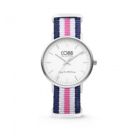 Steel case wrist watch and CO88 8CW-10029 bicolour fabric strap
