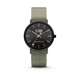 Black ip steel wristwatch and military green fabric strap CO88 8CW-10037