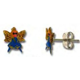 Button earrings for little girl in silver with good luck UNOAERRE 439476