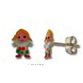 Button earrings for baby girl in silver with colorful doll UNOAERRE 439480