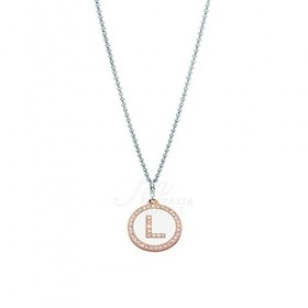 Bronze Necklace with Charm Letter Central Alphabet with Zacron ZXIMCL1048 / B Zirconia