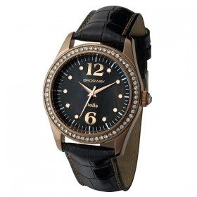 BROSWAY women's wrist watch with black leather strap and pink gold pvd case WDL06