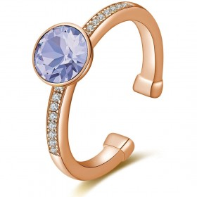 Gold plated and galvanized pink gold ring with zircons and swarovski BROSWAY G9TG39B