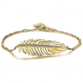 Gold galvanized brass bracelet with feather shaped central unit and circular white circles BROSWAY BUM12