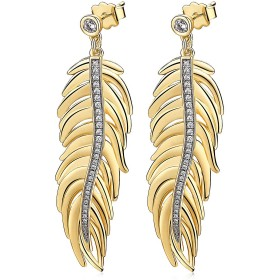Gold galvanized inotion earrings with feather pendant, circular brooches and crystals BROSWAY BUM22