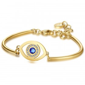 Gold and gold pvd bracelet with central eye plate with swarovski crystals BROSWAY BHK91