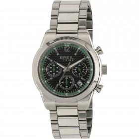 Orologio Cronografo in acciaio con quadrante nero e lunetta verde BREIL EW0362