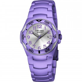 Aluminum man wristwatch with purple pvc and silver satin dial BREIL EW0179