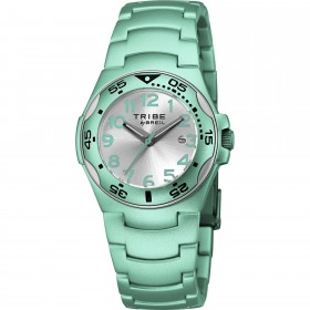 Aluminum wrist watch with green pvd and silver satin dial BREIL EW0180