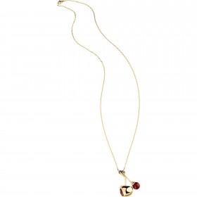 Collana donna in acciaio e pvd oro gold con doppio pendente lucido e rubino rosso BREIL TJ1857