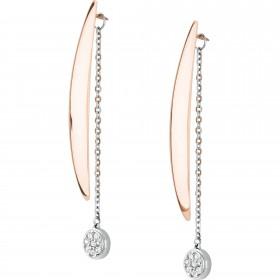 Orecchini pendenti in acciaio e ip gold con cristalli bianchi BREIL TJ1840