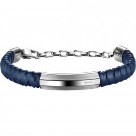 Bracciale uomo in acciaio lucido e pelle blue BREIL TJ1763