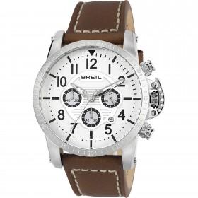 Orologio da polso cronografo uomo in acciaio e cinturino in pelle marrone BREIL TW1504