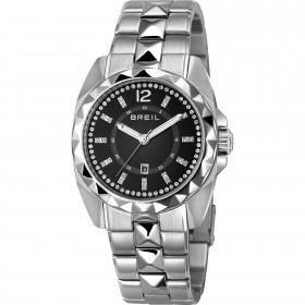 Orologio da polso donna solo tempo in acciaio con quadrante nero e cristalli bianchi BREIL TW1343