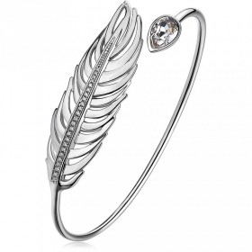 Bangle bracelet in rhodium-plated brass with central in the shape of a feather and pave of white zircons BROSWAY BUM13B