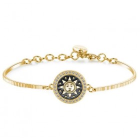Women's rigid bracelet in steel and gold pvd with swarovski and engraving BROSWAY BHK163